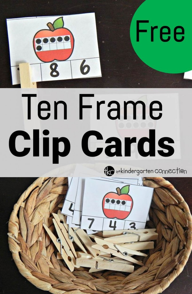 Ten frame clip cards