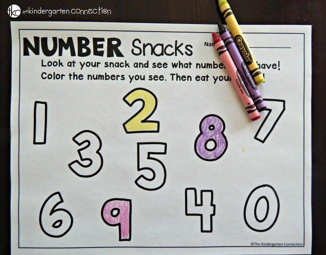 number snack printable