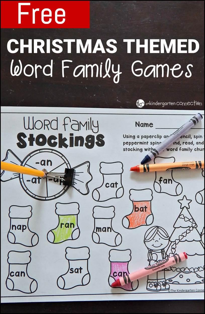 Free Printable Christmas-Themed Word Family Games