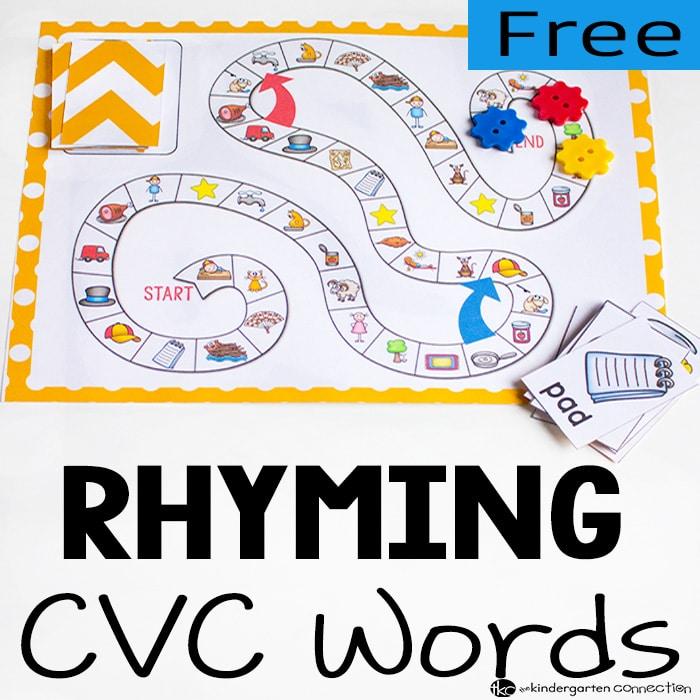 A super fun CVC Rhyming Words Board Game!