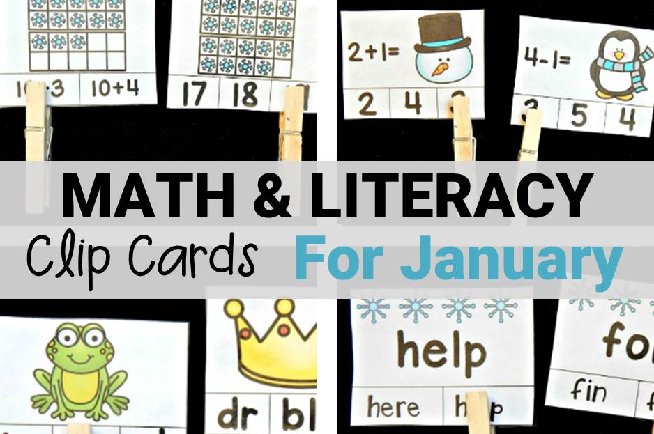 Math and Literacy Clip Cards for January