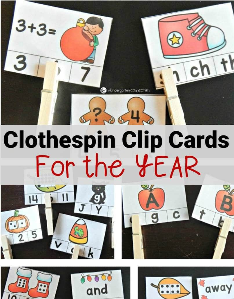 math and literacy clip cards for kindergarten for the entire school year!