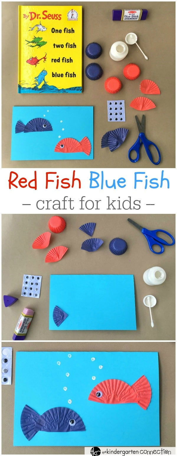 """This Dr. Seuss day craft is perfect for after reading """"One Fish Two Fish Red Fish Blue Fish!"""" Make a fun card and work on writing skills as well!"""
