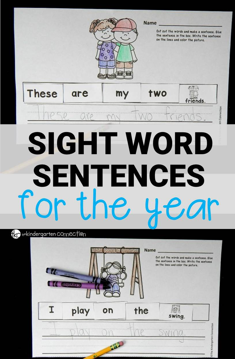 Build reading and writing fluency with these cut, paste, and write sight word sentences. 200 sentences to last the school year!