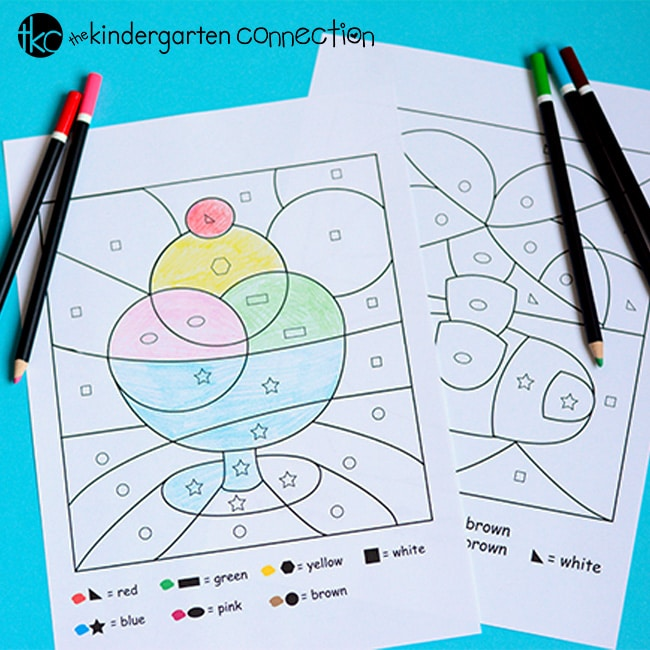 Make learning shapes tons of fun with these free color by shape printables. Similar to color by number, but with shapes instead!