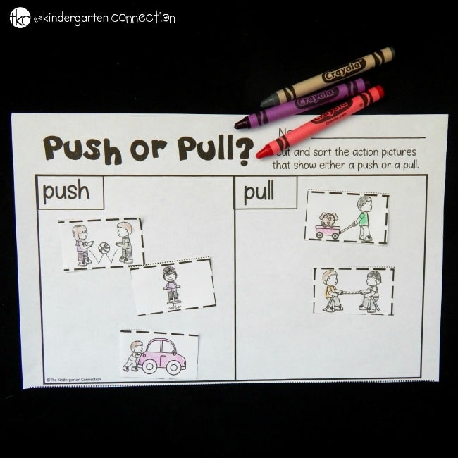 Work on identifying types of forces with this push or pull cut and paste sort. It is perfect to add to a forces and motion unit for kids!