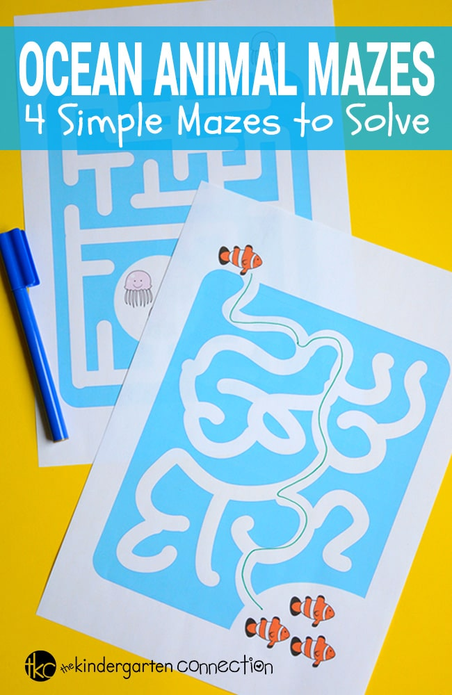 These ocean animals mazes for kids are perfect for preschoolers and kindergarteners to work on problem solving and strategy planning - and fun!
