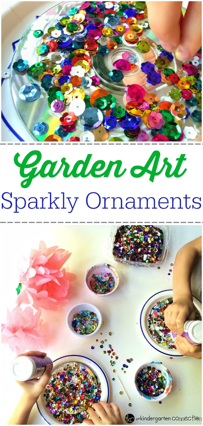 These sparkly CD ornaments are a great way to recycle old CDs while making some beautiful garden art with your kids! Simple to make and they look beautiful.