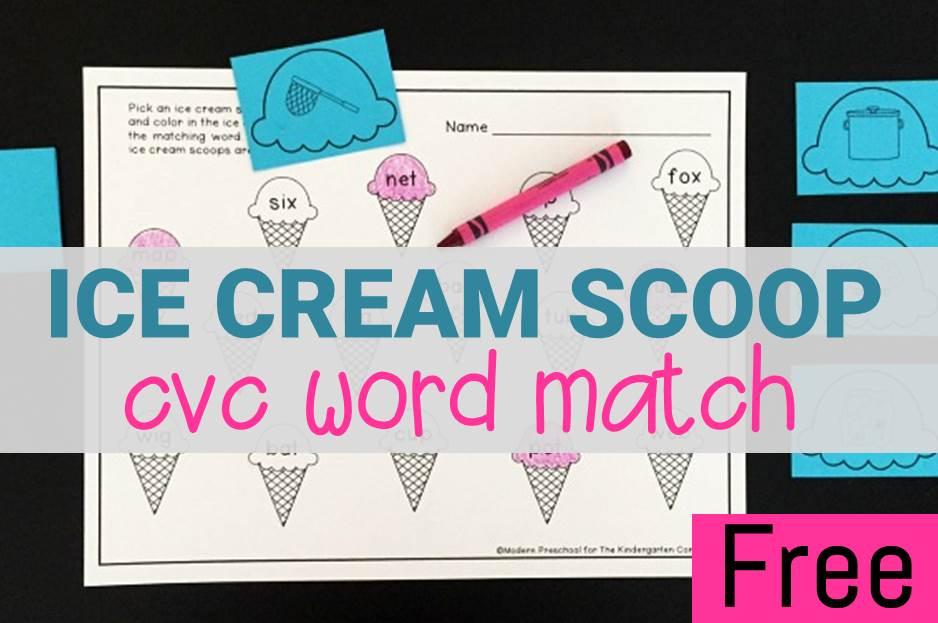 Ice Cream CVC Word Match