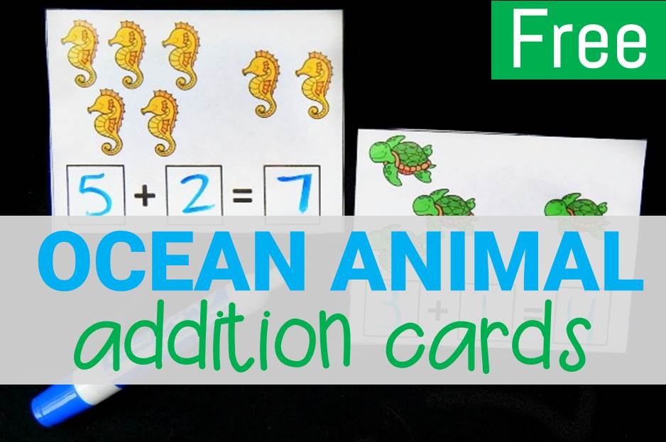 Ocean Animal Addition Cards