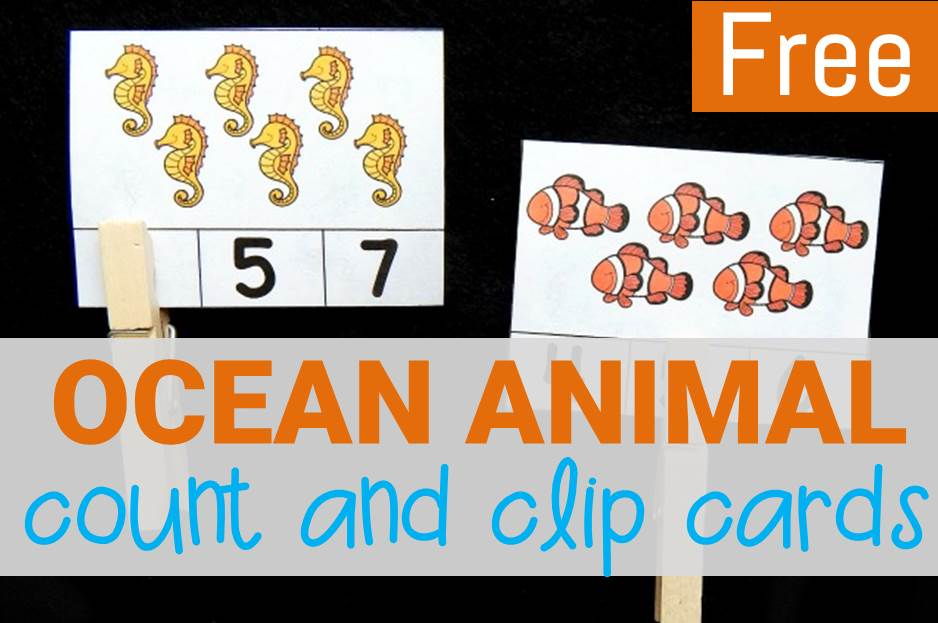 ocean animal count and clip cards main image