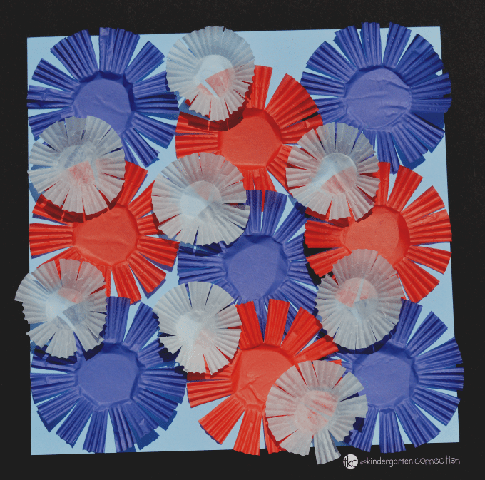 This Cupcake Liner Fireworks Craft is a fun, patriotic craft for kids to make in celebration of Independence Day. Plus, it builds up scissor skills too!