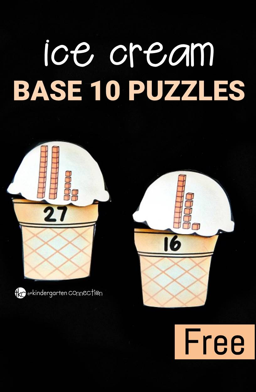 Make place value and learning base 10 fun with these ice cream themed puzzles. Count up the base 10 blocks on the scoops and match them to their cones!