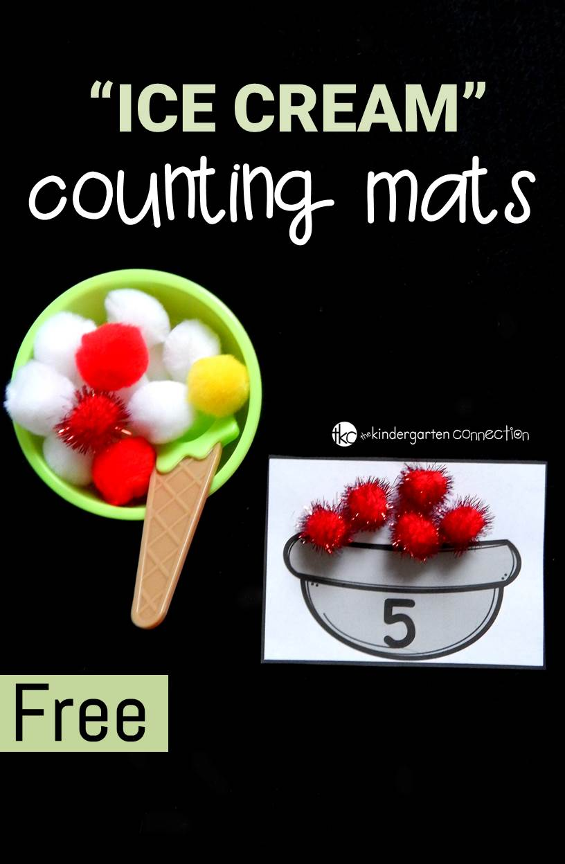 These ice cream themed counting mats are perfect for preschoolers and kindergarteners to practice numbers and counting sets to 12.