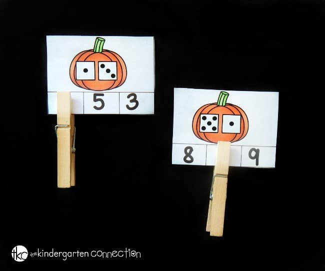 These pumpkin addition clip cards are a great fall math center for kindergarten! Build counting and addition skills, and strengthen fine motor too!