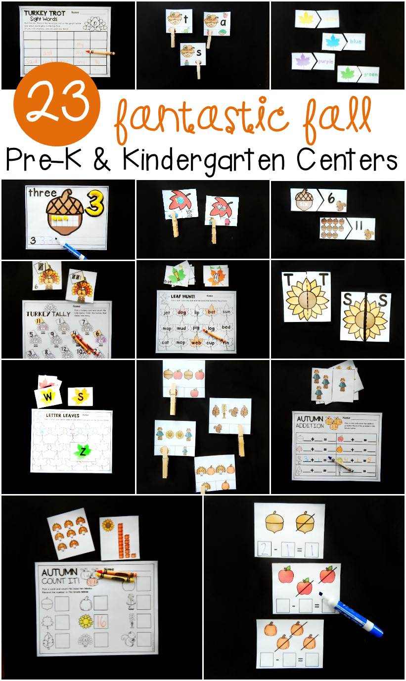 These fall centers are so fun for pre-k and kindergarten students to practice reading and math skills! ABC's, rhyming, counting, addition, and more!