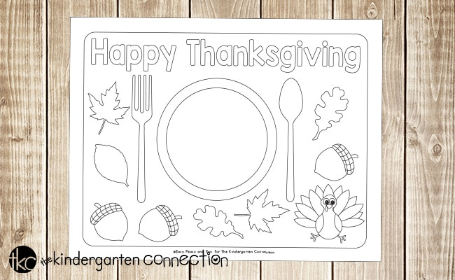 Fun Printable Thanksgiving Placemats: If you want to make the Thanksgiving meal a little bit special in your kindergarten class or at home, print out these fun Thanksgiving placemats to color.
