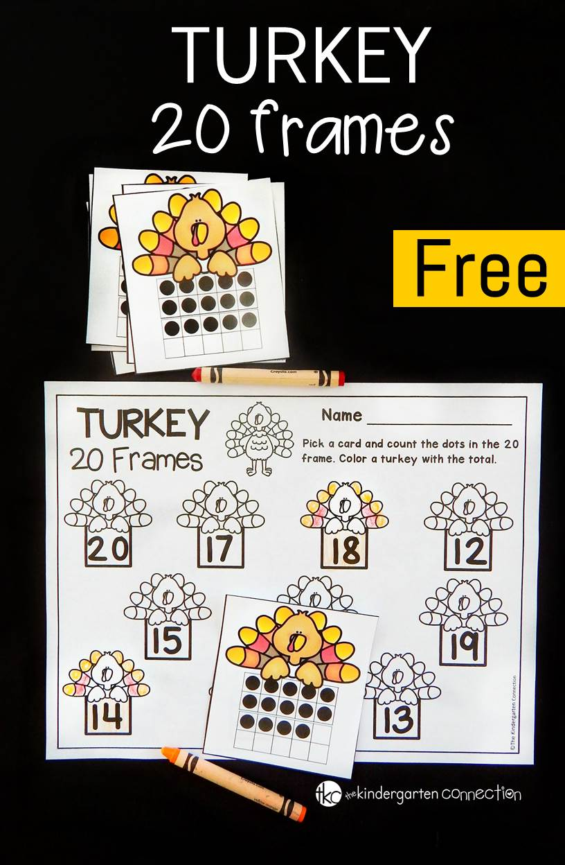 This 20 frames math game is such a fun math center for kindergarten. Practice counting and recognizing teen numbers with a turkey theme!