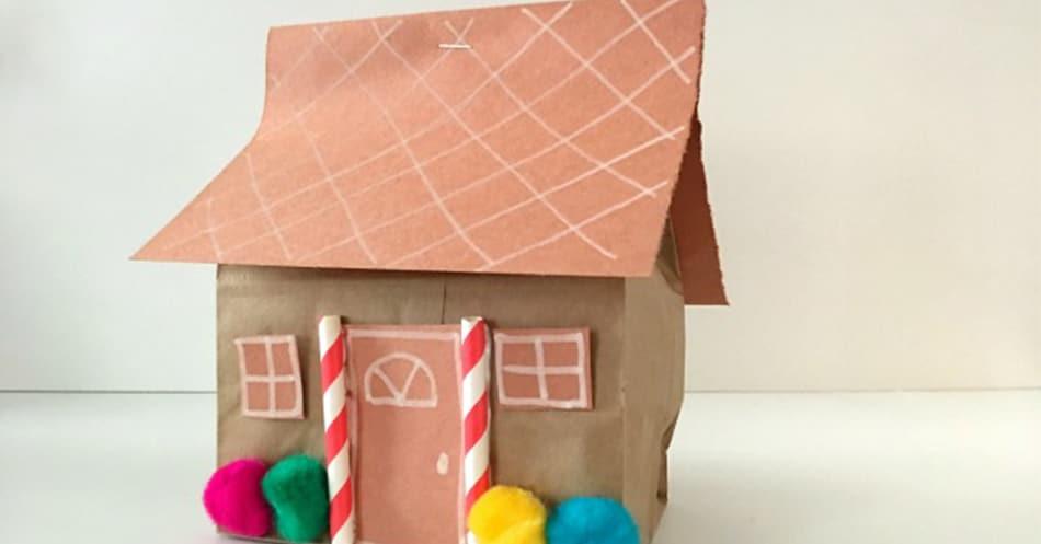 Classroom Management Ideas For Kindergarten ~ Paper bag gingerbread house holiday craft