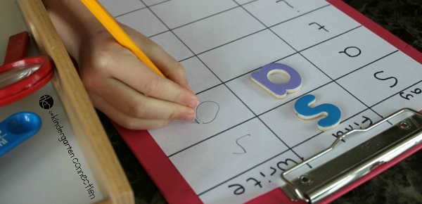 "Invite your child to investigate letters at the Investigation Table for a game of ""Say, Find and Say."" Use this fun activity to help reinforce beginning letter sounds at home or in school."
