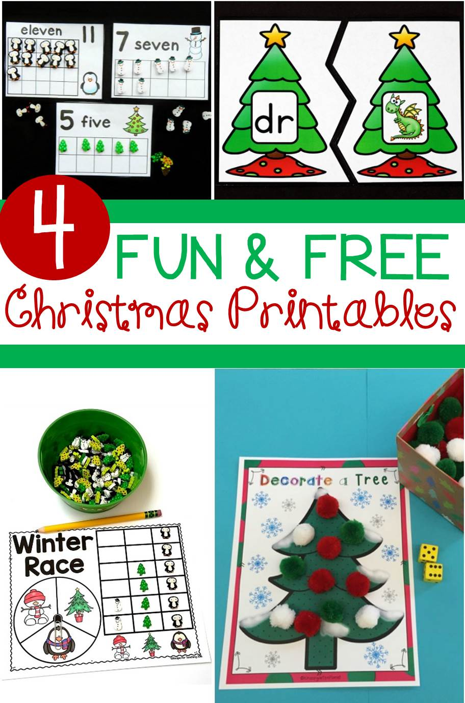 Super fun and FREE Christmas math and literacy activities for kids!