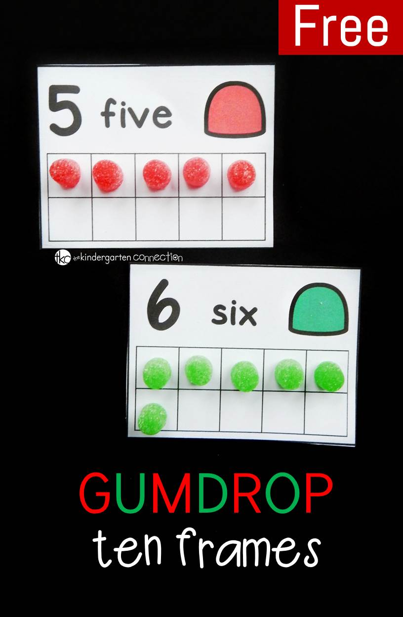 These gumdrop ten frame cards are a fun math center for kids to work on counting, one to one correspondence, and even decomposing numbers.