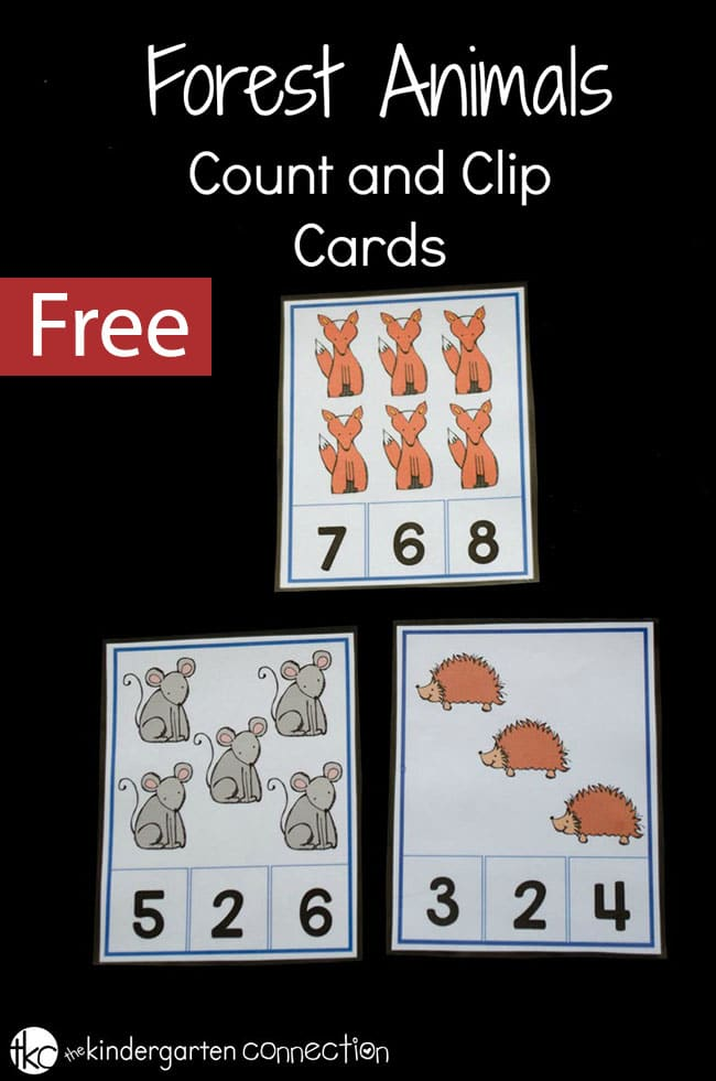 These free printable forest animals count and clip cards are perfect for making math fun. Kids can practice subitizing, adding, and fine motor skills all at the same time!