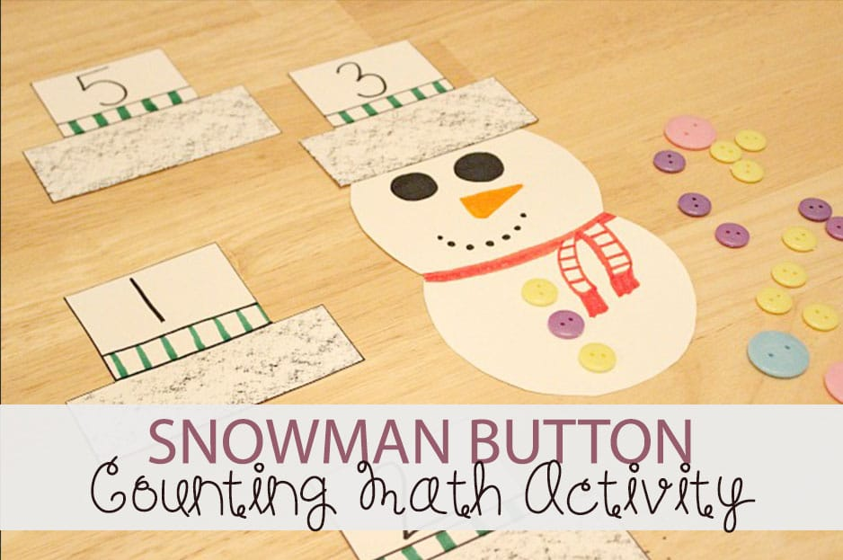 Snowman Button Counting Math Activity for Preschool