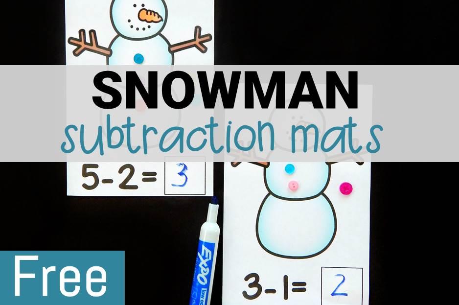 Snowman Subtraction Mats
