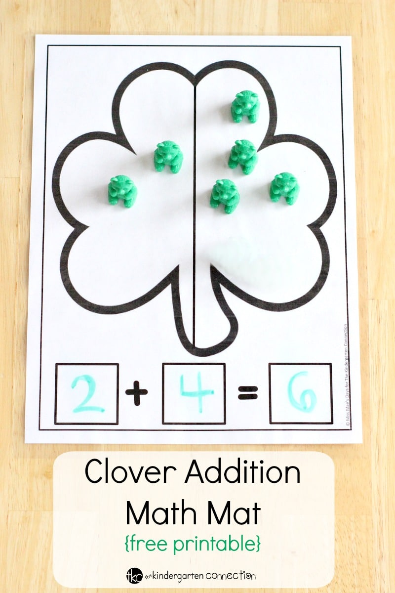 Great for small groups or individual work, try this Clover Addition Math Mat free printable! Practice addition with hands-on manipulatives.