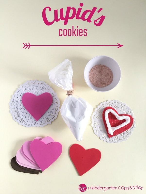These Cupid's Cookies are all the fun of baking, without the calories or sugar high! Use it as a Valentine fine motor and sensory activity.