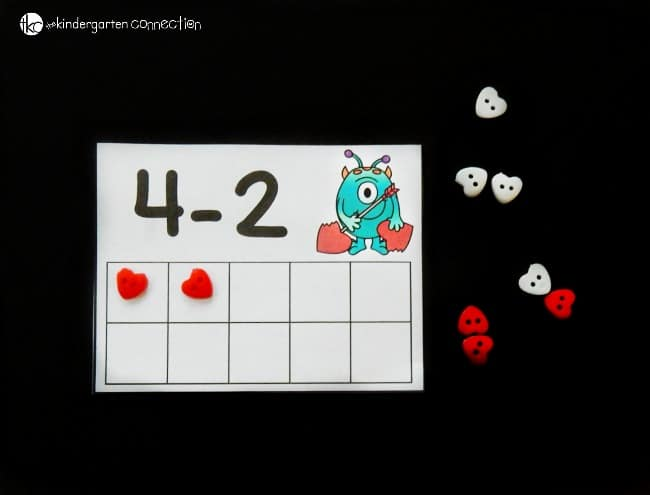 Make math centers hands-on, engaging, and fun this Valentine's Day with these love monster subtraction within 10 free printable cards!