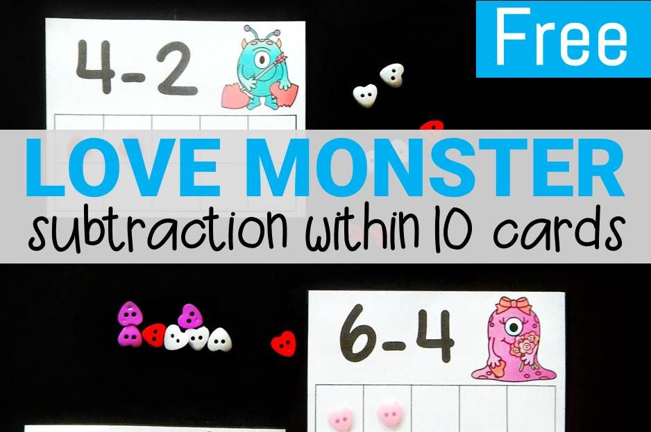 Love Monster Subtraction Within 10 Cards