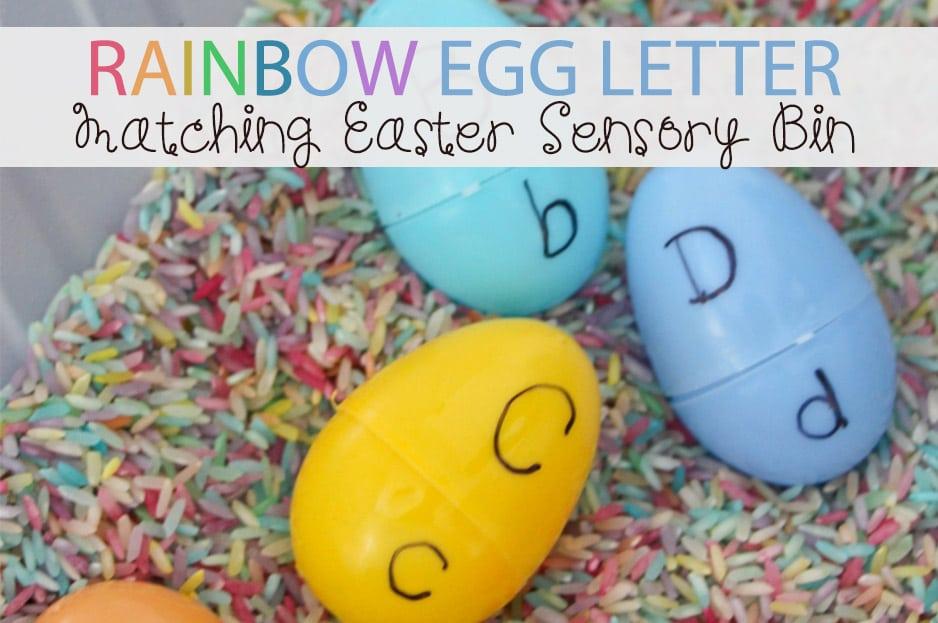 Rainbow Egg Letter Matching Easter Sensory Bin