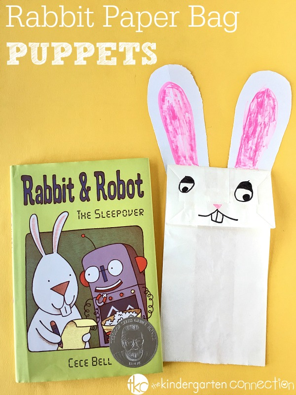 Great for a spring study, make these rabbit paper bag puppets. They go well with any rabbit books, especially the book Rabbit & Robot!