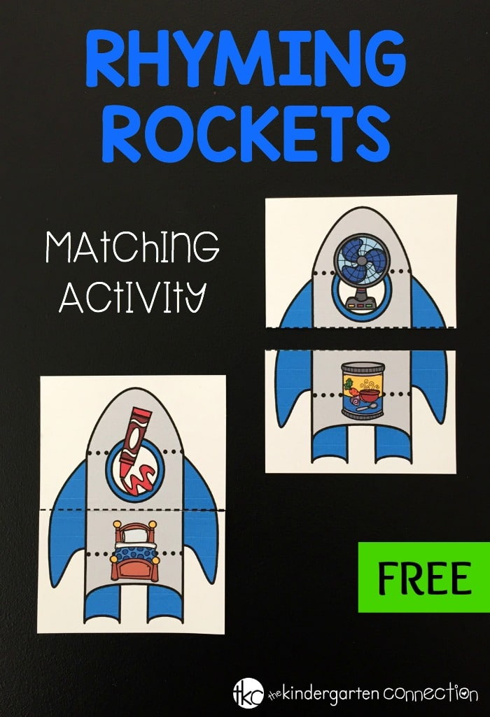 Our rhyming rocket match game is the perfect activity to help preschoolers and kindergarteners practice literacy rhyming skills.