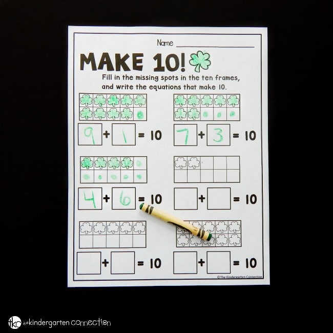 Working on sums of 10? Have fun learning addition combinations to 10 with these free St. Patrick's themed make 10 worksheets!