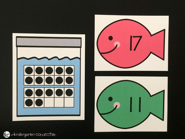 My kindergartener loves making her own math games! We created this 20 frame fish matching free math game to practice numbers 11-20 with twenty frames!