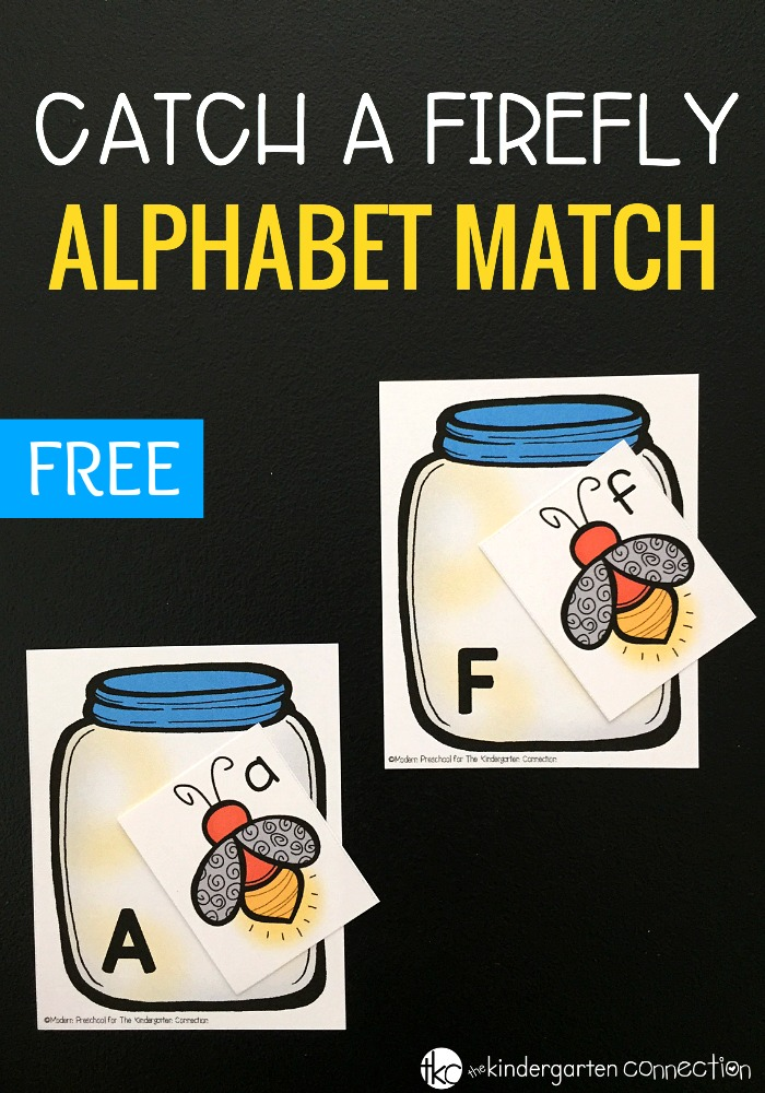 We love catching fireflies outside in the summer. To pair with it, try this catch a firefly free alphabet match activity, for preschool and kindergarten!