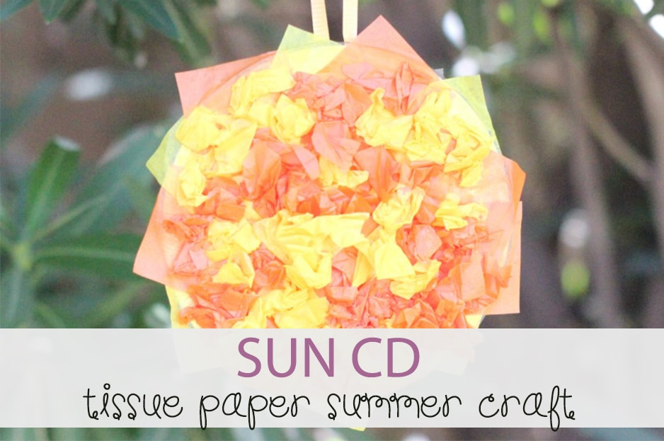 Summer CD Sun Craft with Tissue Paper