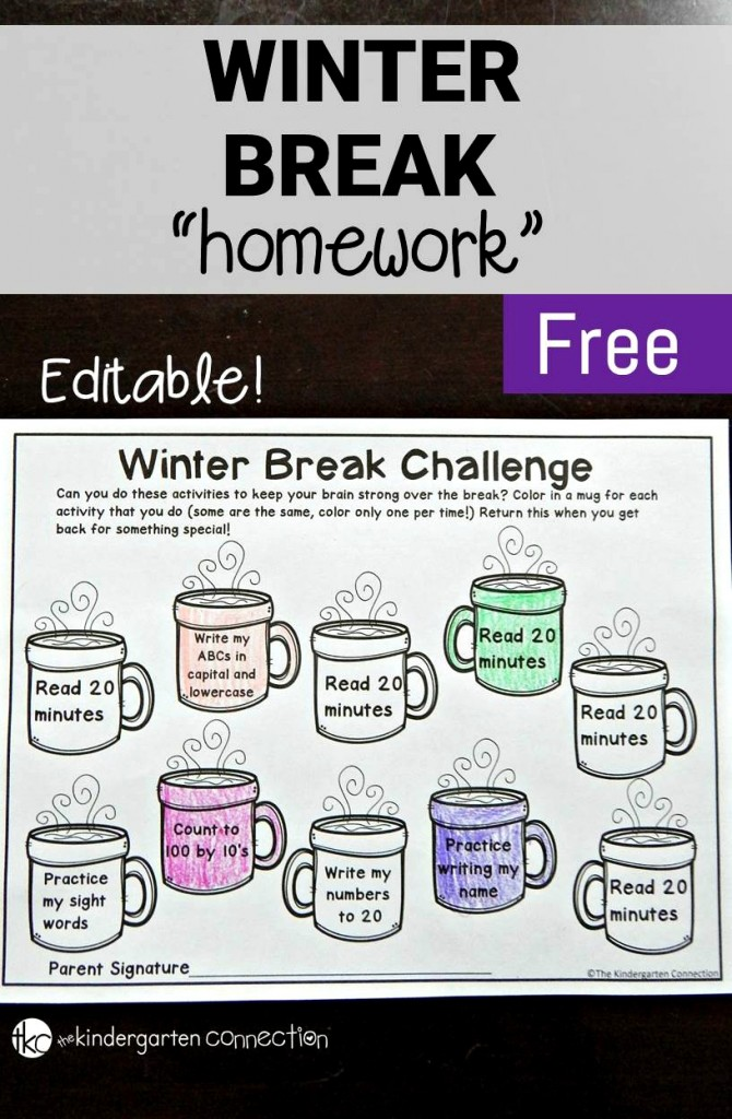 Free printable winter break homework editable for Fall break vacation ideas