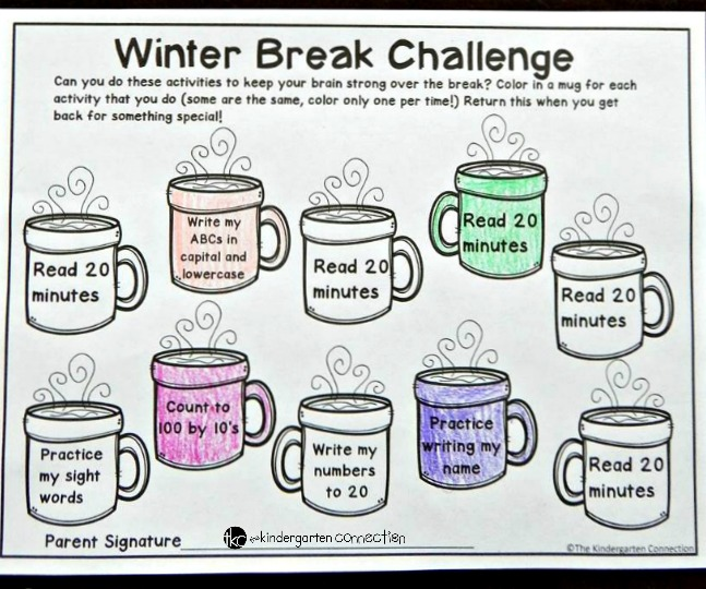 This free editable winter break homework is great for Kindergarten or 1st grade before Christmas vacation! It is a fun way for the kids to keep their study skills sharp while they are away!