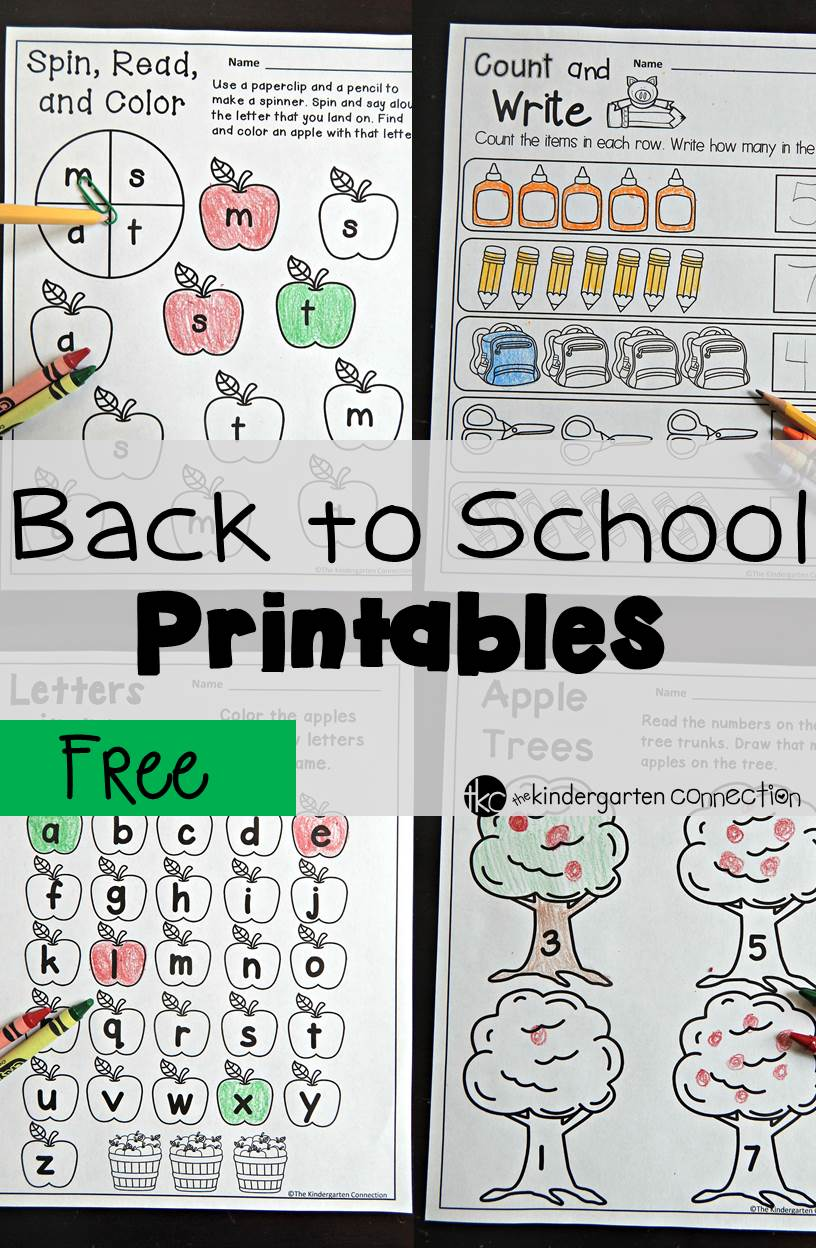 Back To School Printables The Kindergarten Connection