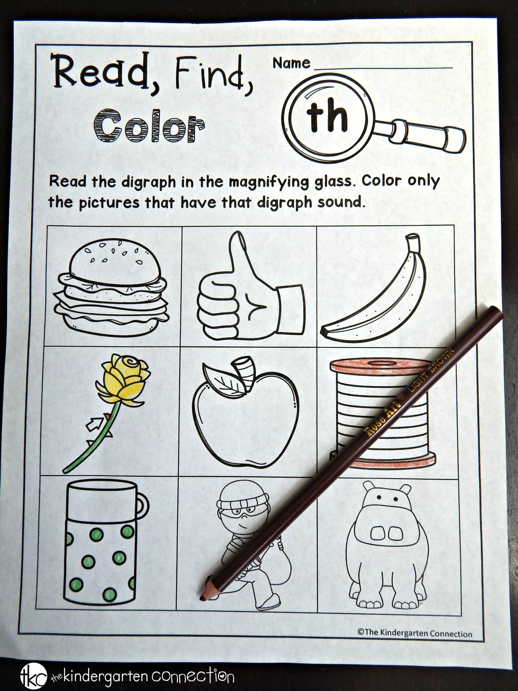 Free digraph and CVCe printables The Kindergarten Connection – Ch Worksheets for Kindergarten