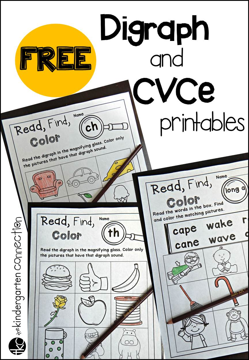 Free digraph and CVCe printables The Kindergarten Connection – Th Worksheets for Kindergarten
