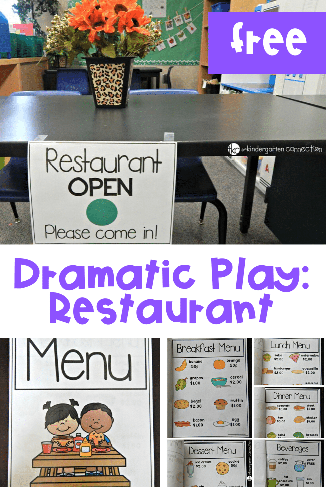 These free printables will help you set up and prep a fun dramatic play restaurant for kids! This is perfect for home or a Pre-K/Kindergarten classroom!