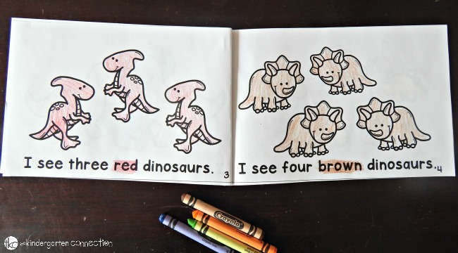 This free dinosaur emergent reader is perfect for beginning readers! It focuses on sight words, number words, and color words too!