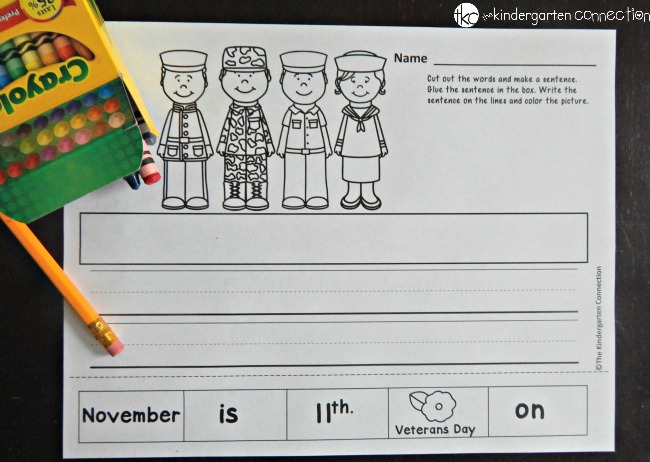 Free Veterans Day Activity The Kindergarten Connection – Free Veterans Day Worksheets