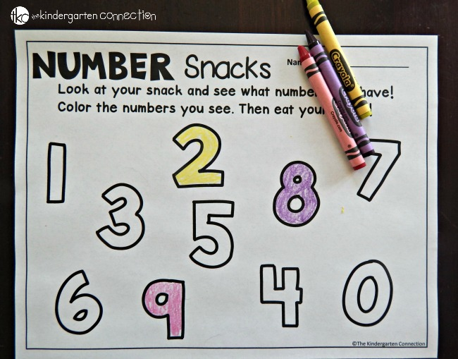 number snack printable