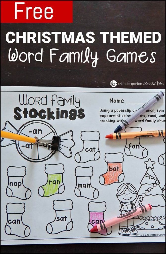 Work on word families this season with these fun and free word family games! They are a perfect Christmas literacy center for Kindergarten!